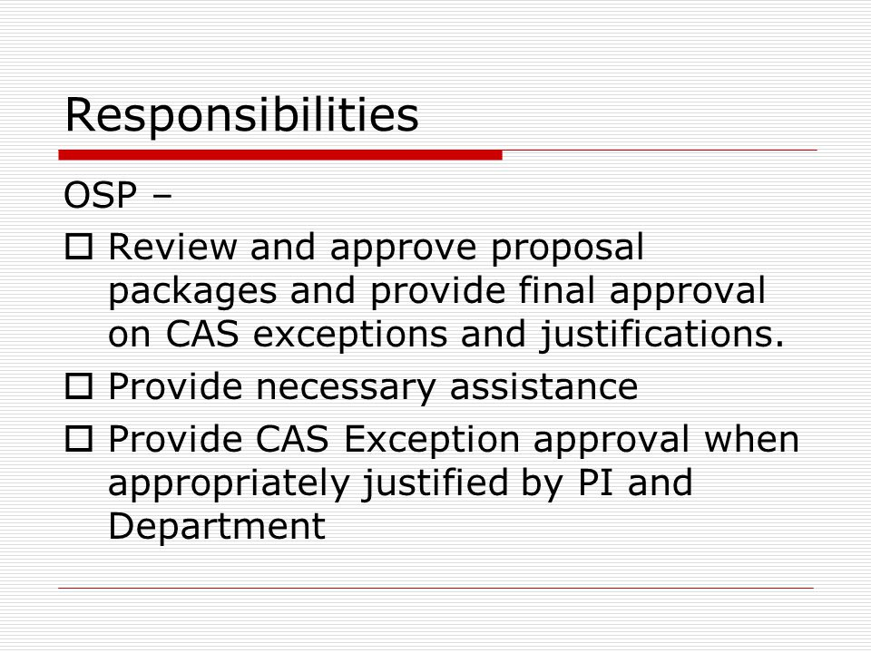 Responsibilities OSP –