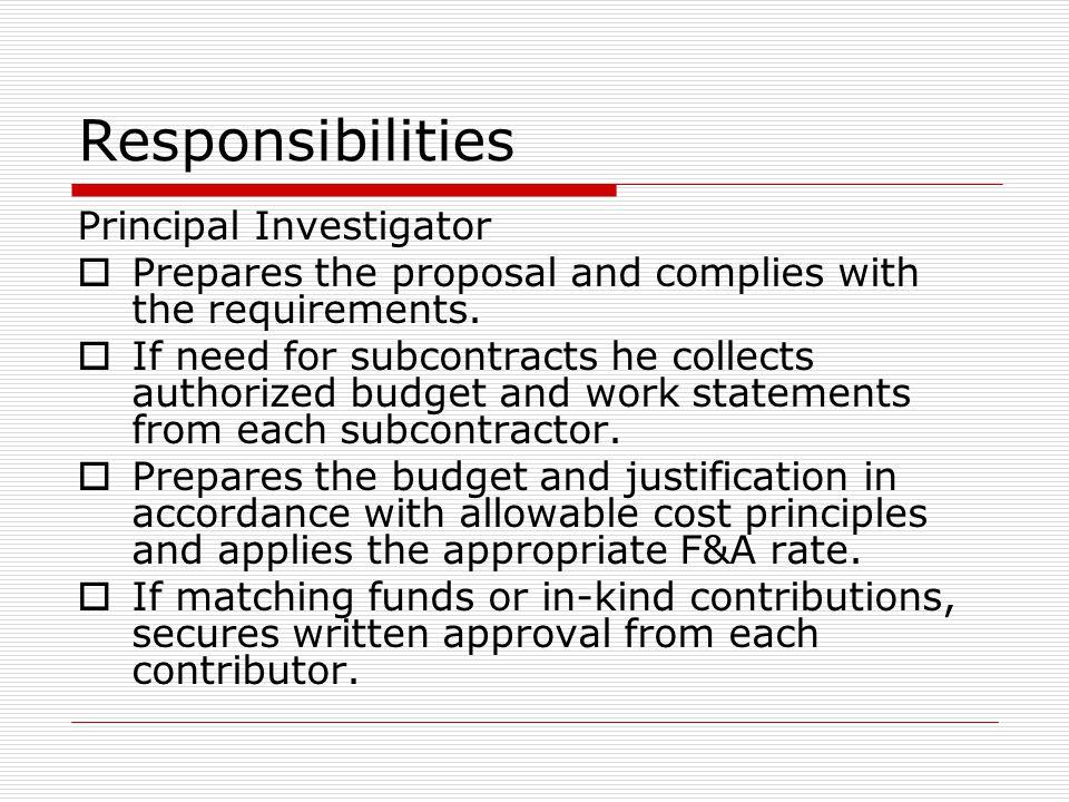 Responsibilities Principal Investigator