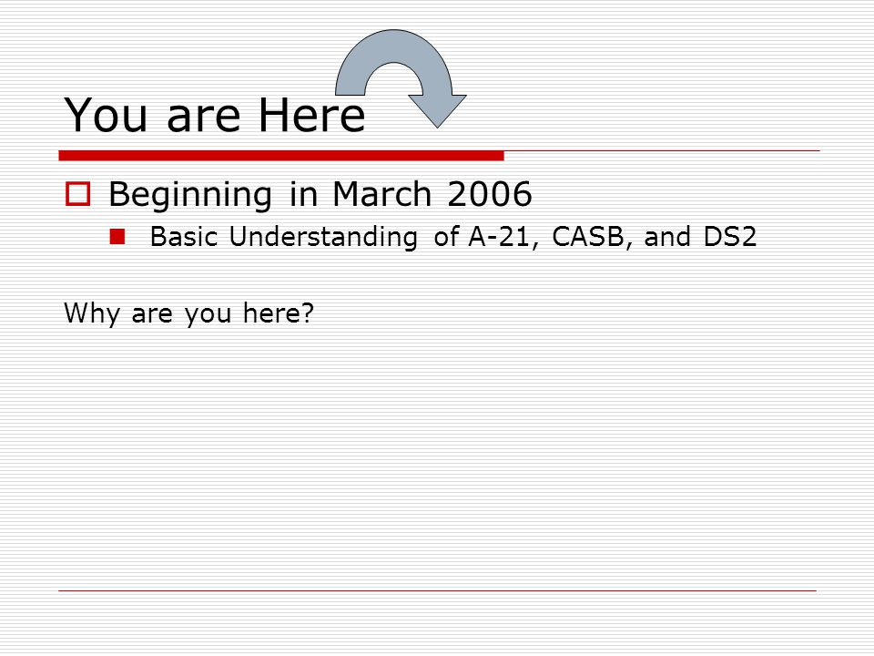 You are Here Beginning in March 2006