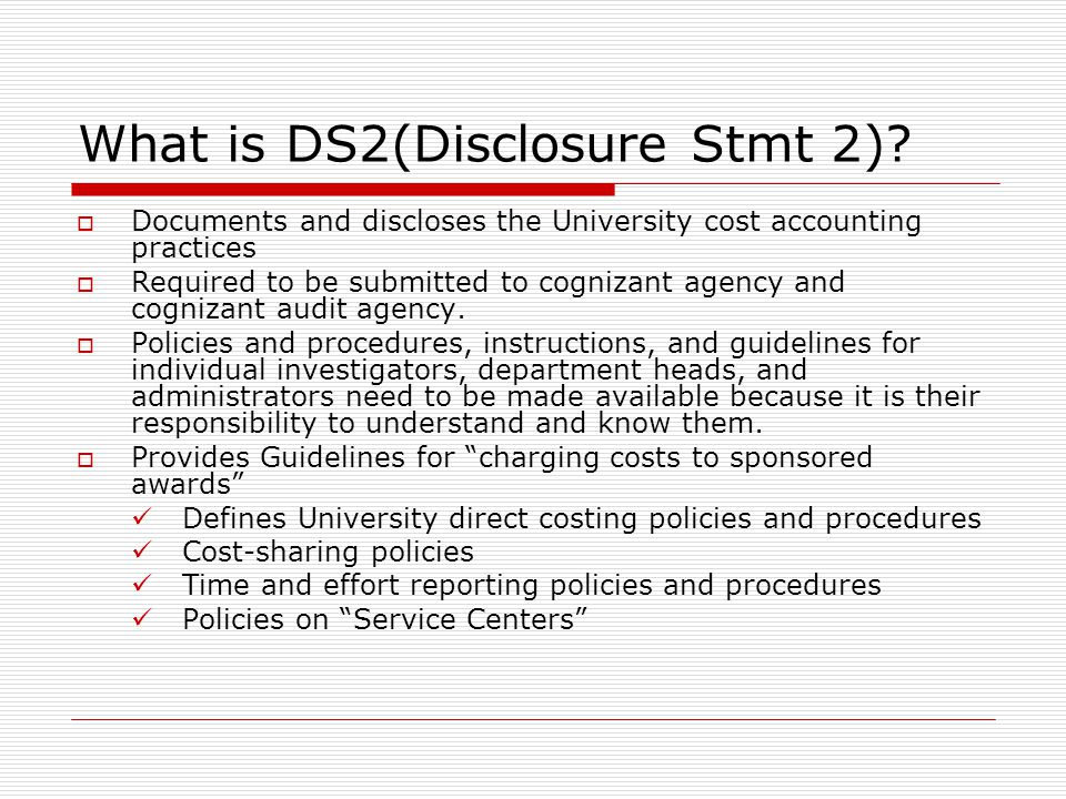What is DS2(Disclosure Stmt 2)