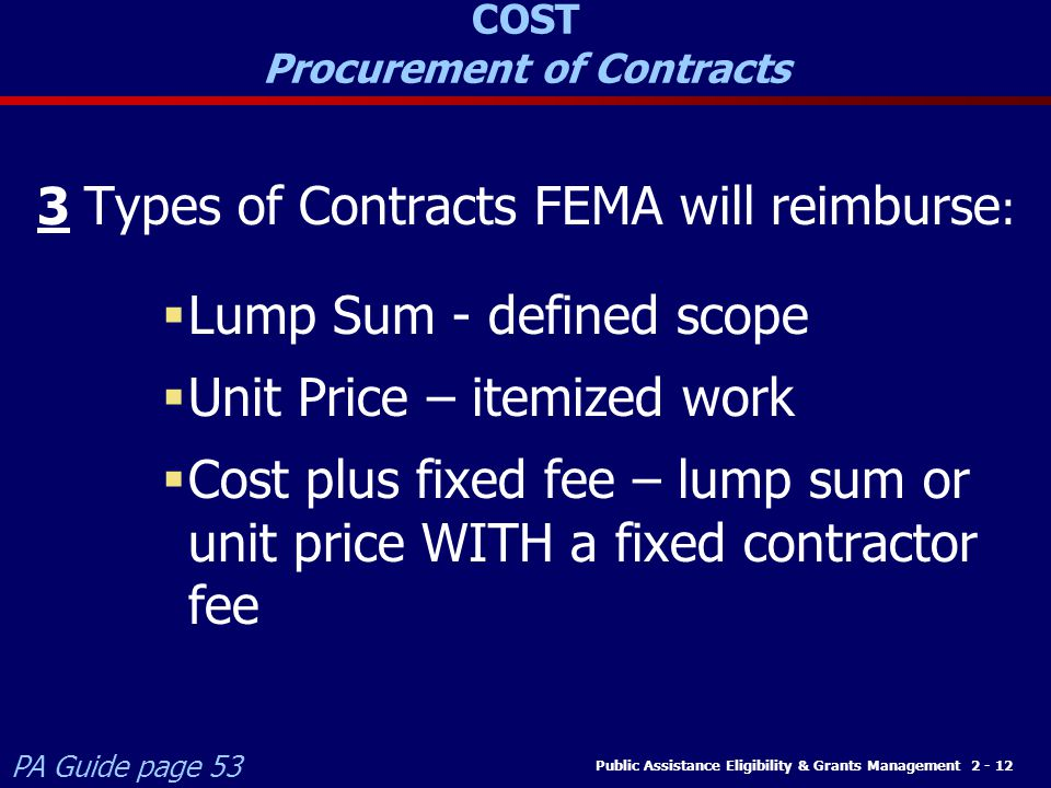 COST Procurement of Contracts