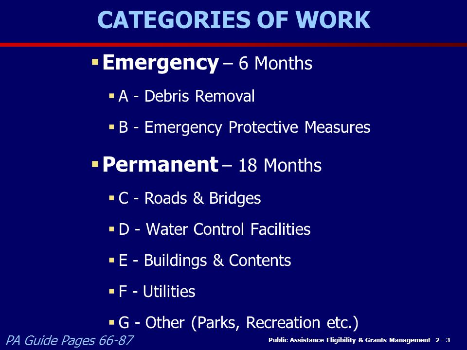 CATEGORIES OF WORK Emergency – 6 Months Permanent – 18 Months