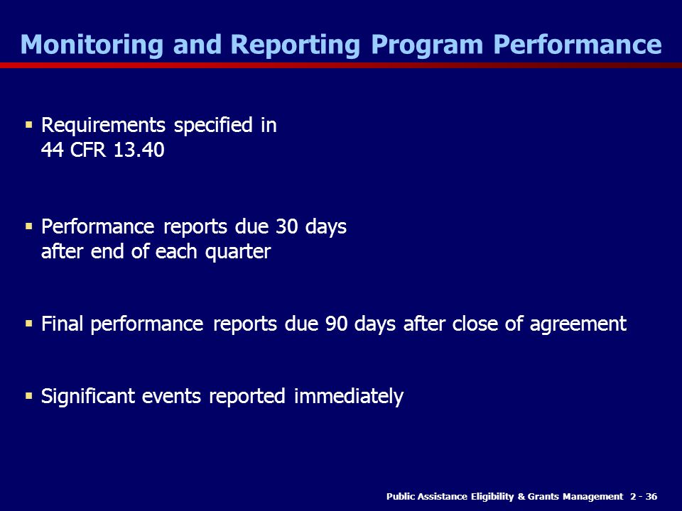 Monitoring and Reporting Program Performance