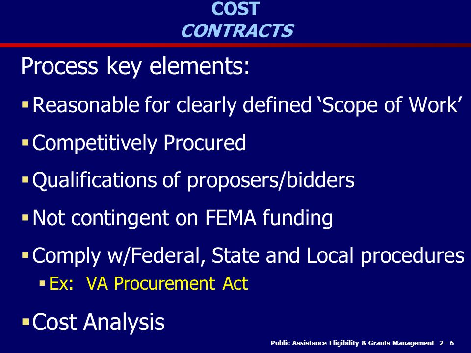 Process key elements: Cost Analysis