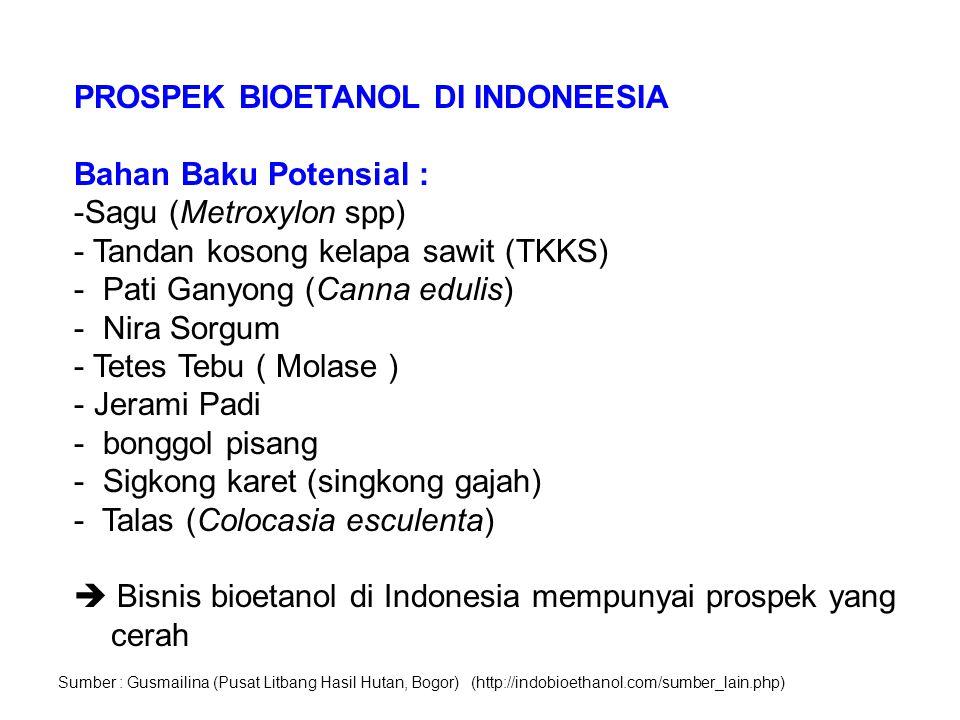 PROSPEK BIOETANOL DI INDONEESIA Bahan Baku Potensial :