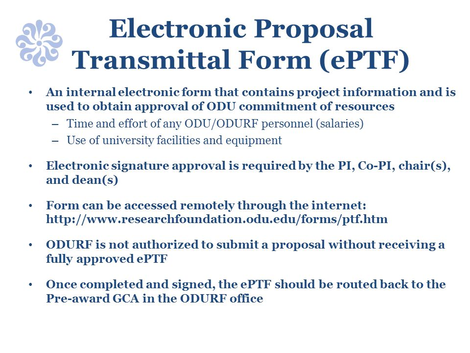 Electronic Proposal Transmittal Form (ePTF)