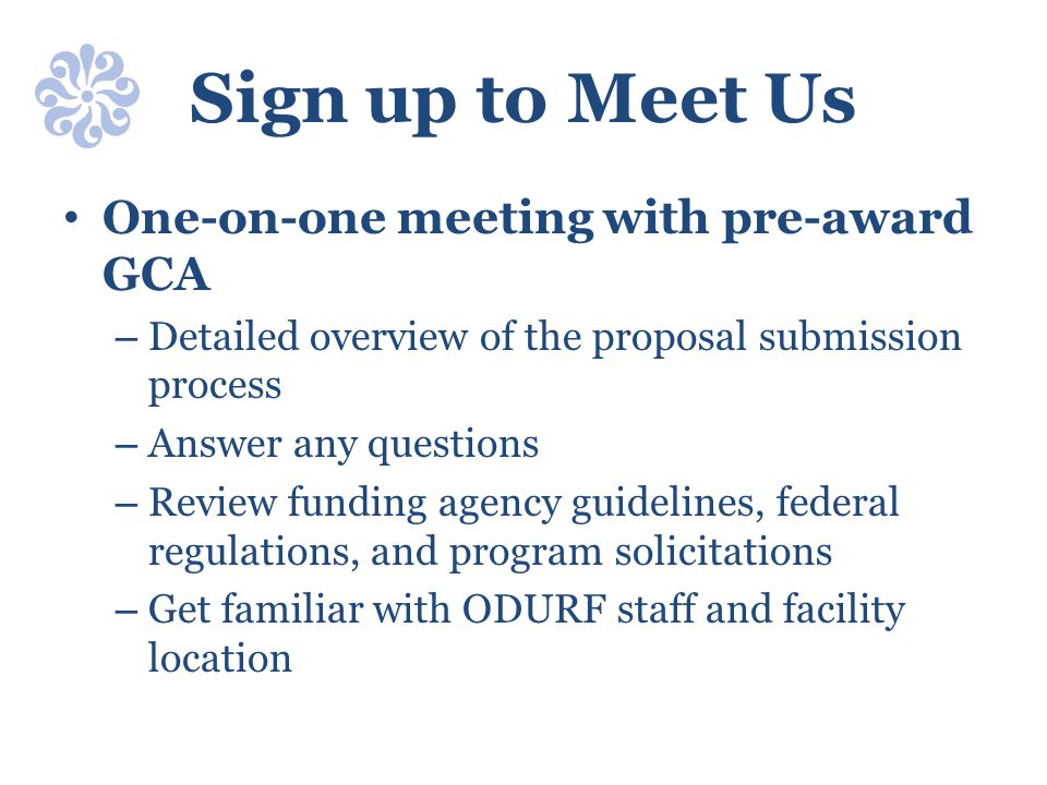 Sign up to Meet Us One-on-one meeting with pre-award GCA