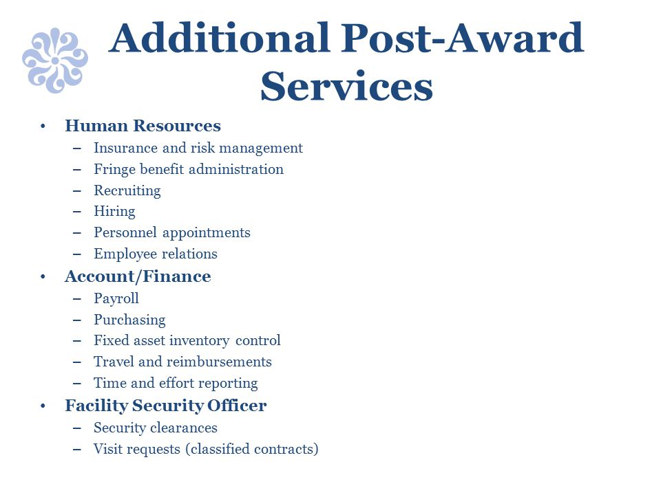 Additional Post-Award Services
