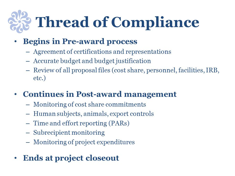 Thread of Compliance Begins in Pre-award process