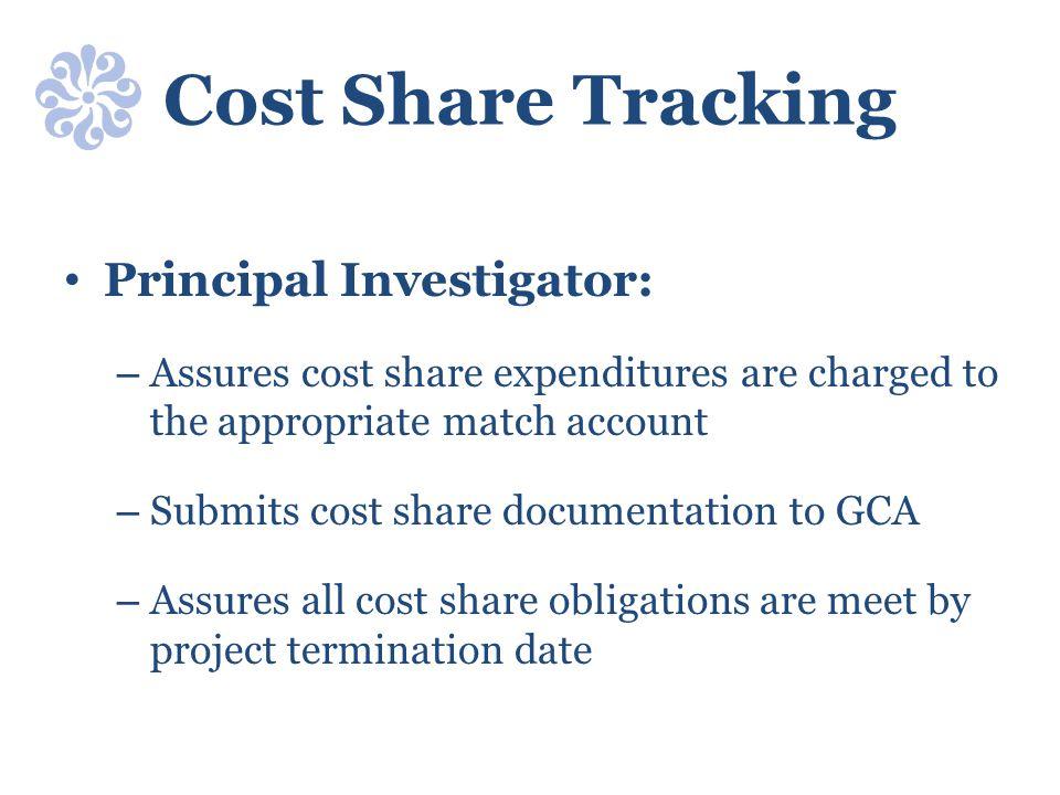 Cost Share Tracking Principal Investigator: