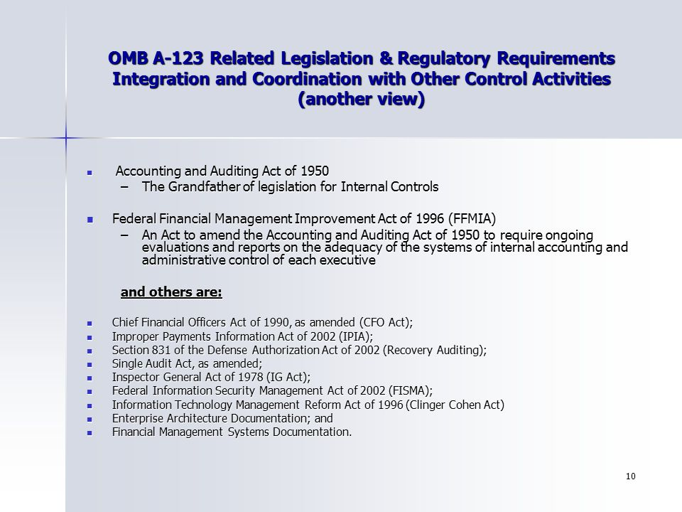 OMB A-123 Related Legislation & Regulatory Requirements Integration and Coordination with Other Control Activities (another view)
