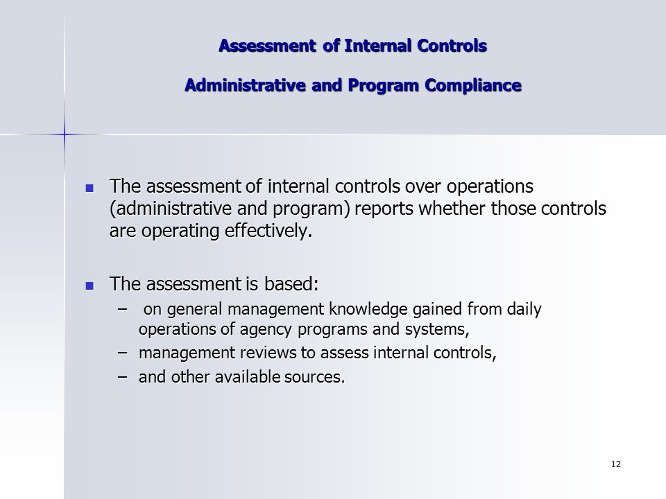 Assessment of Internal Controls Administrative and Program Compliance