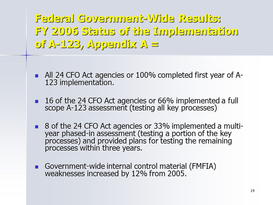 Federal Government-Wide Results: FY 2006 Status of the Implementation of A-123, Appendix A =
