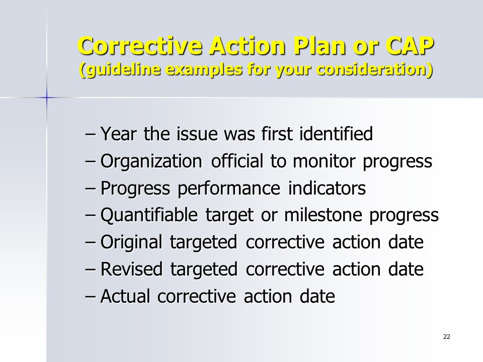 Corrective Action Plan or CAP (guideline examples for your consideration)