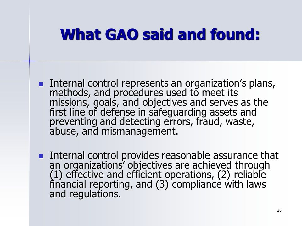 What GAO said and found: