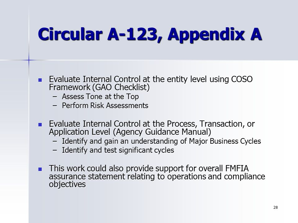Circular A-123, Appendix A Evaluate Internal Control at the entity level using COSO Framework (GAO Checklist)