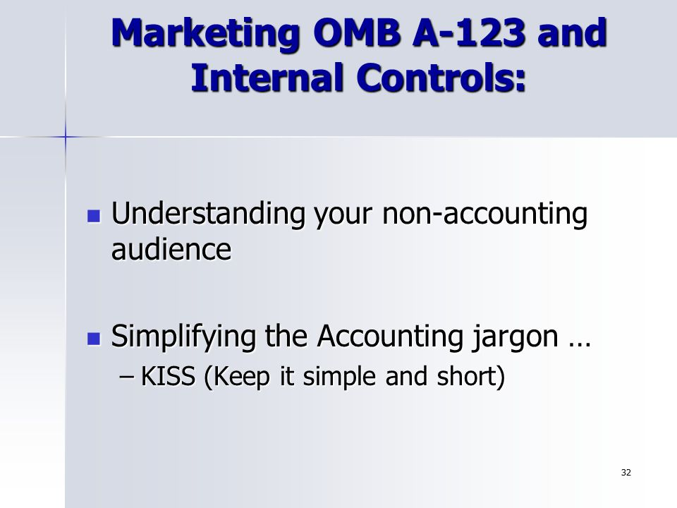 Marketing OMB A-123 and Internal Controls: