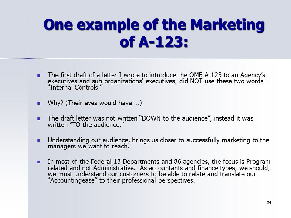 One example of the Marketing of A-123: