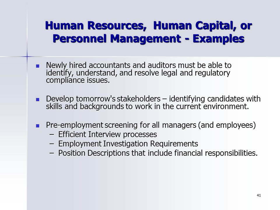 Human Resources, Human Capital, or Personnel Management - Examples