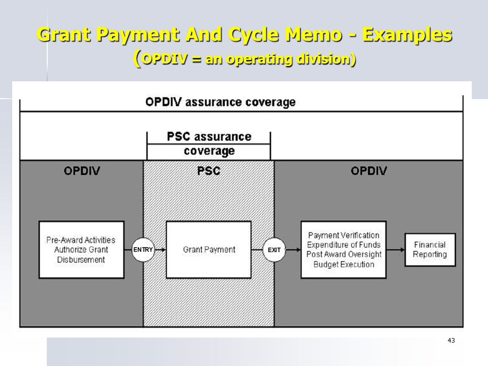 Grant Payment And Cycle Memo - Examples (OPDIV = an operating division)