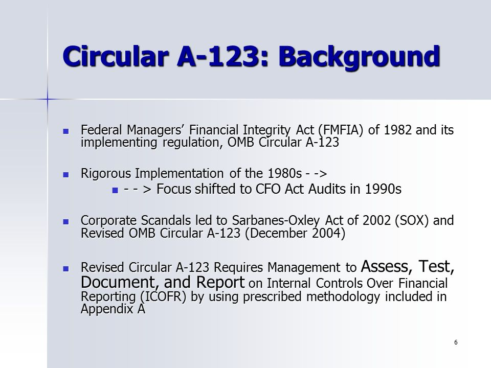 Circular A-123: Background