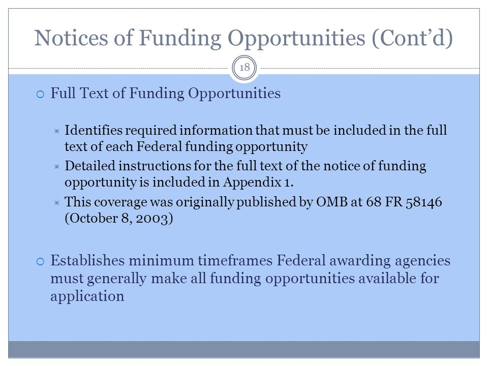 Notices of Funding Opportunities (Cont'd)