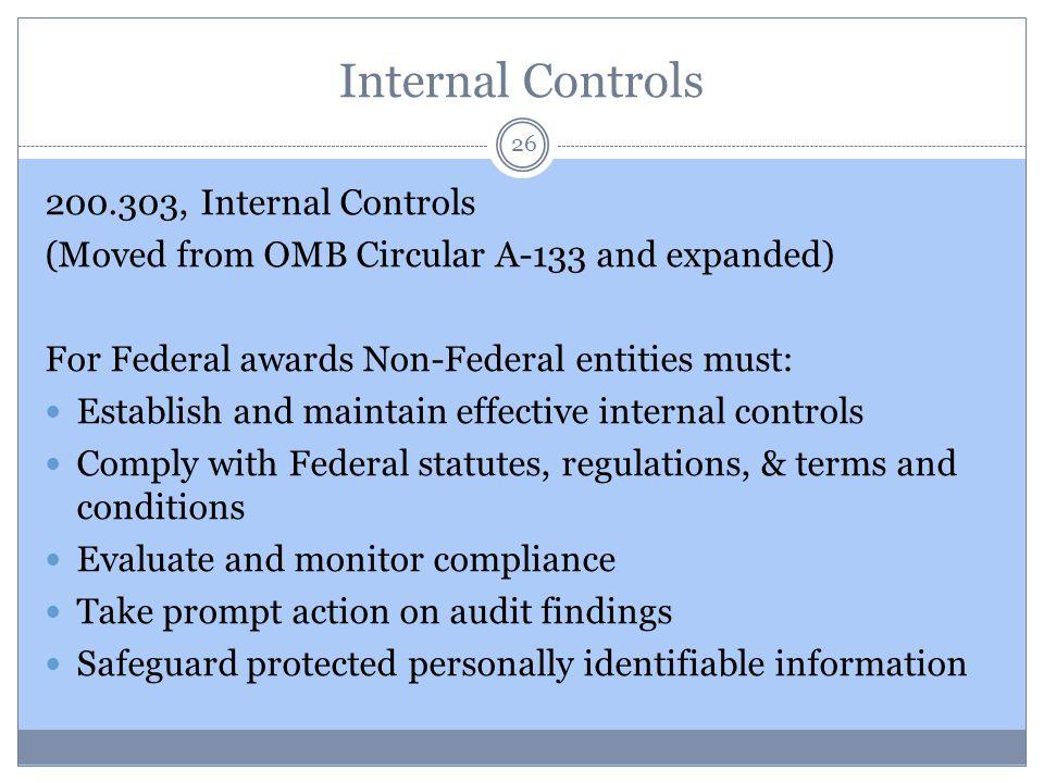 Internal Controls 200.303, Internal Controls