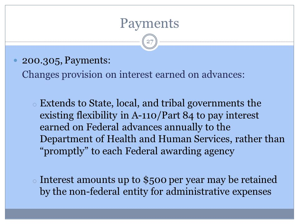 Payments 200.305, Payments: Changes provision on interest earned on advances: