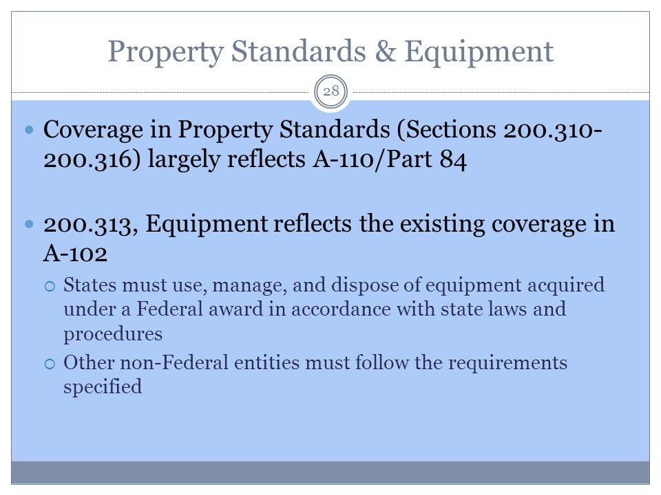 Property Standards & Equipment