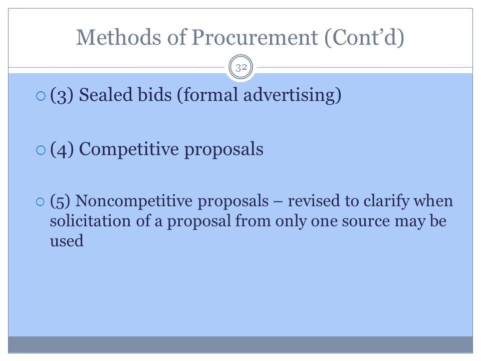 Methods of Procurement (Cont'd)