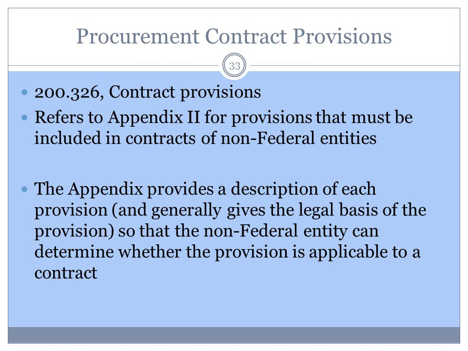 Procurement Contract Provisions