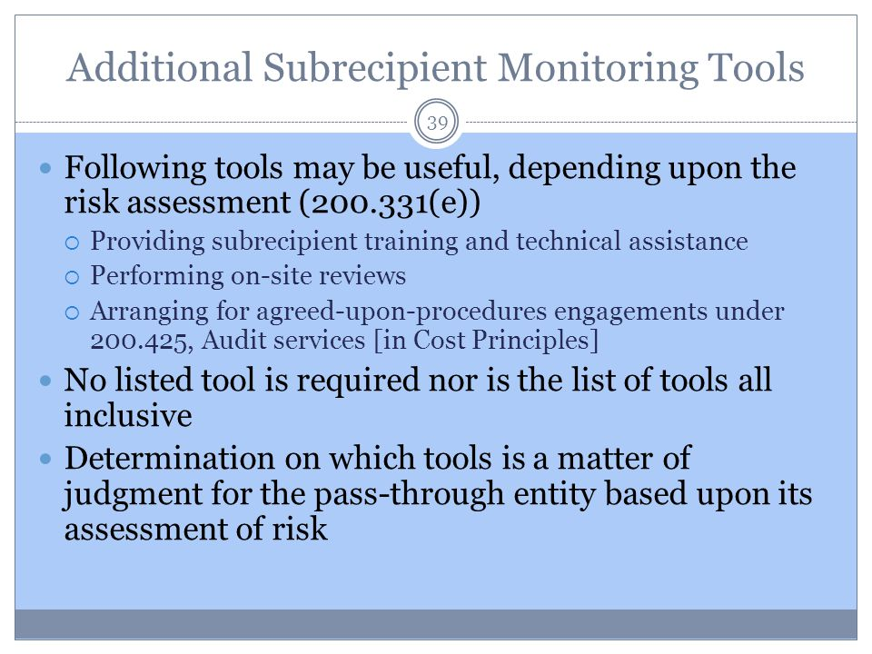 Additional Subrecipient Monitoring Tools