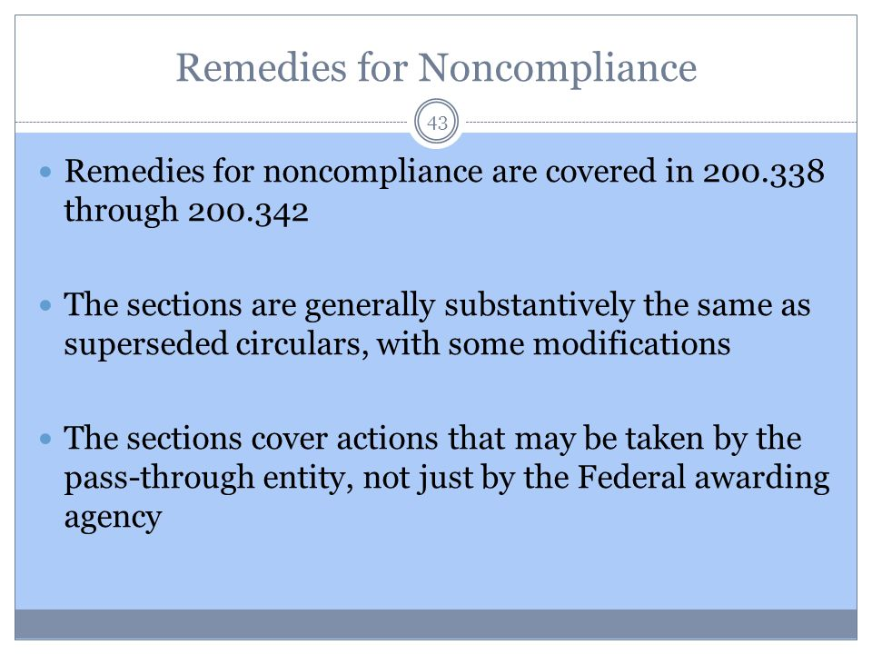 Remedies for Noncompliance