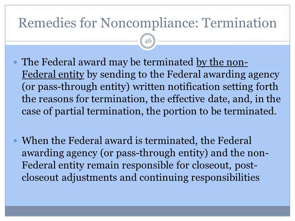 Remedies for Noncompliance: Termination