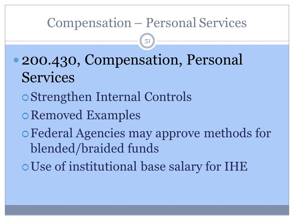 Compensation – Personal Services