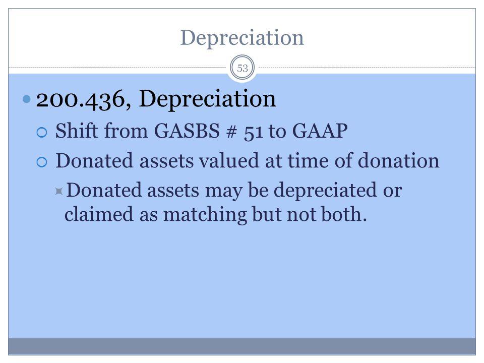 200.436, Depreciation Depreciation Shift from GASBS # 51 to GAAP