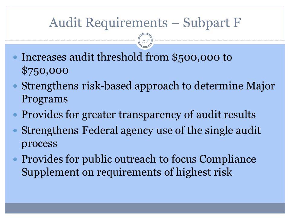 Audit Requirements – Subpart F
