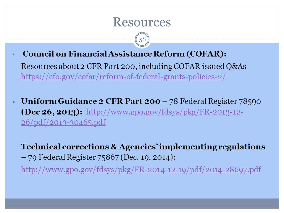 Resources Council on Financial Assistance Reform (COFAR):