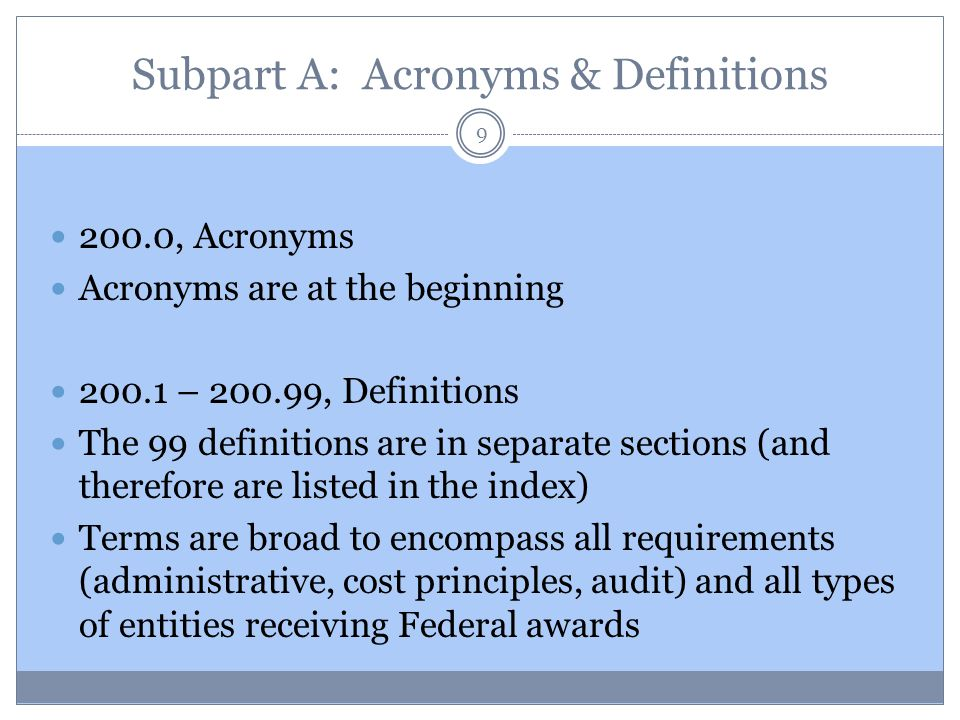 Subpart A: Acronyms & Definitions