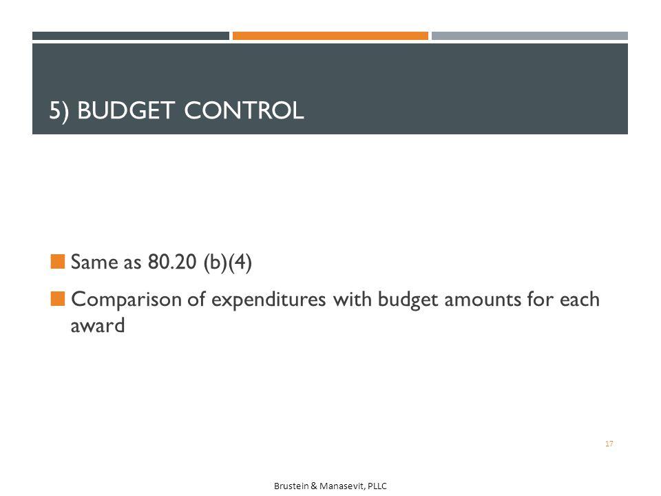 5) Budget Control Same as 80.20 (b)(4)
