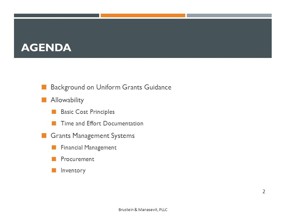 Agenda Background on Uniform Grants Guidance Allowability
