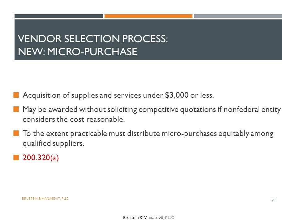 Vendor Selection Process: NEW: Micro-Purchase