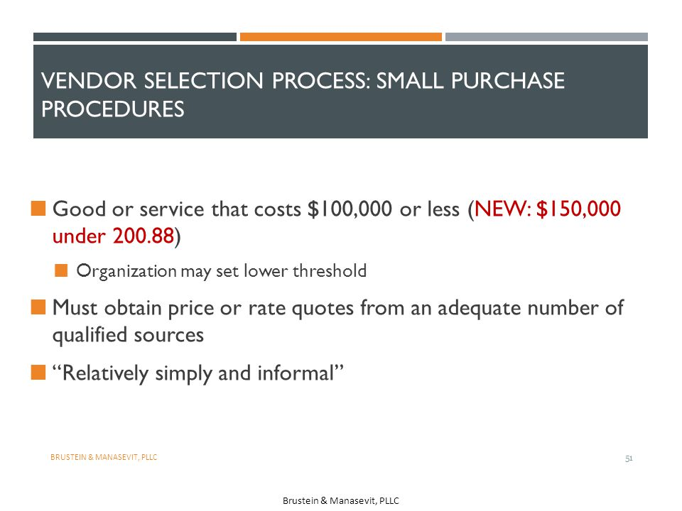 Vendor Selection Process: Small Purchase Procedures
