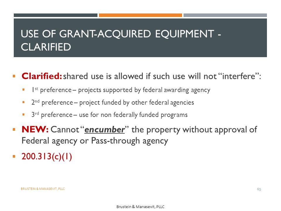 Use of Grant-Acquired Equipment - Clarified