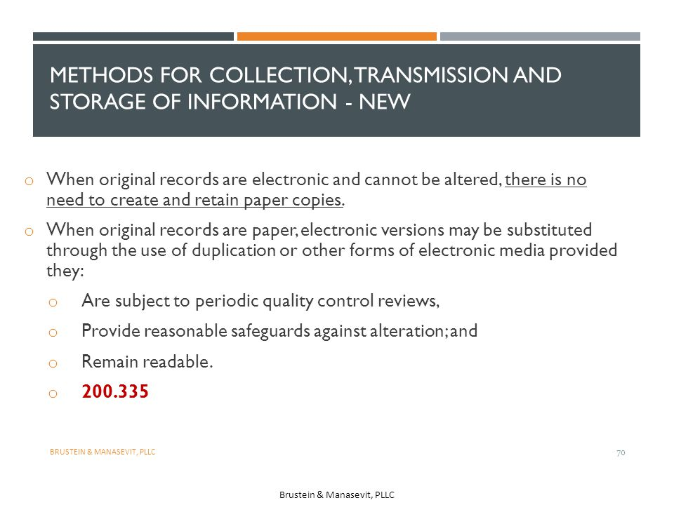 Methods for collection, Transmission and storage of information - NEW