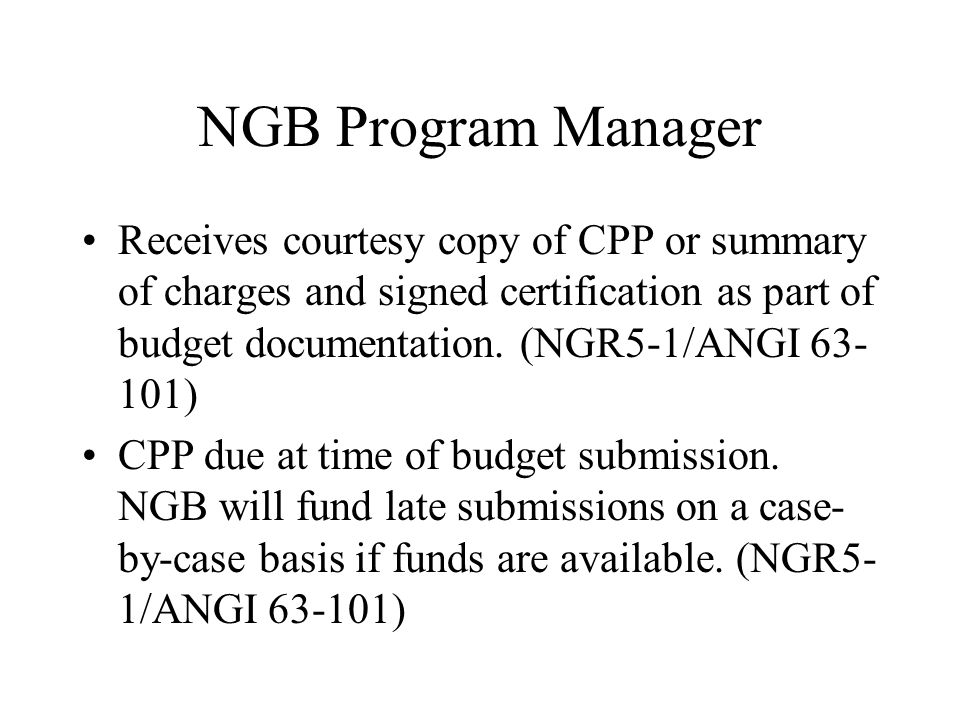 NGB Program Manager