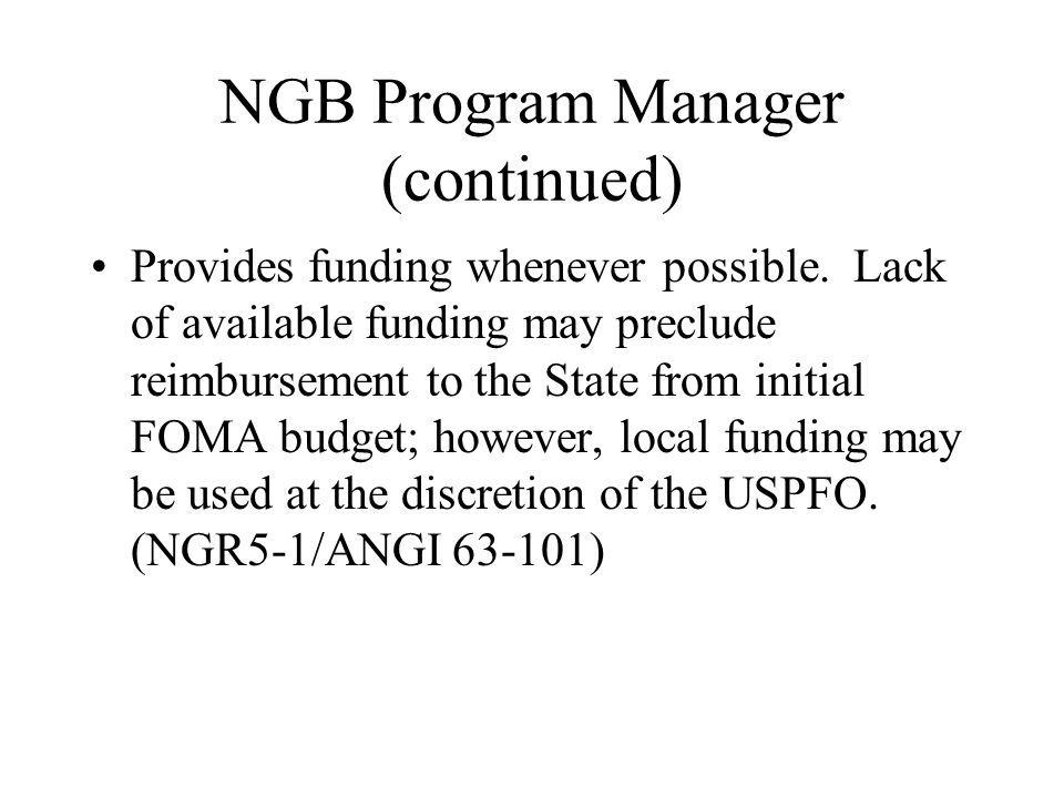 NGB Program Manager (continued)