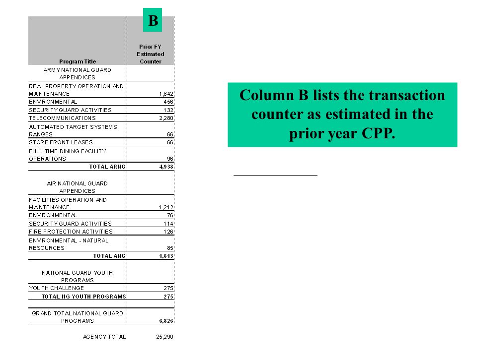 B Column B lists the transaction counter as estimated in the prior year CPP.