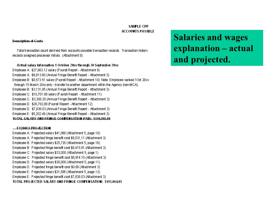 Salaries and wages explanation – actual and projected.