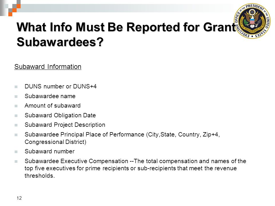 What Info Must Be Reported for Grant Subawardees